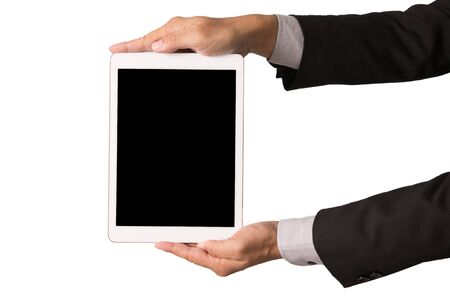 Business hand hold blank tablet PC on white background Imagens