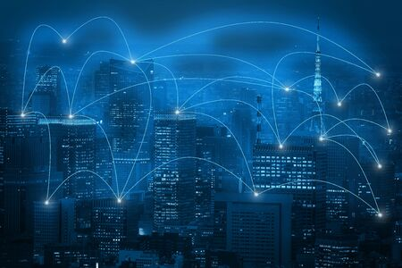 Double exposure business network connection on capital city background