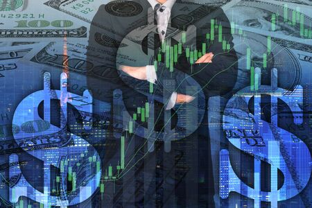 Double exposure business man on trading investment graph and financial city background Imagens