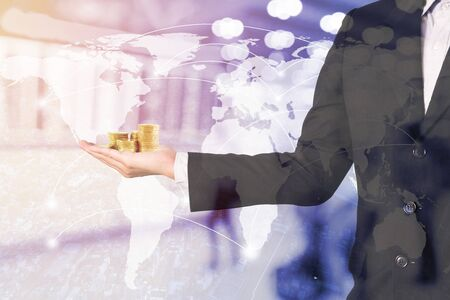 Double exposure business man on trading investment graph and financial city background. Imagens - 131768769