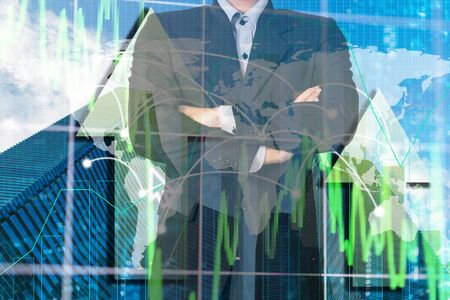 Double exposure business man on trading graph and building background