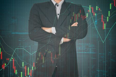 Double exposure business man on trading investment graph and financial city background Imagens - 131768796