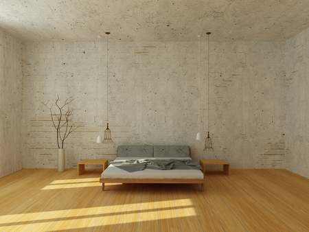 3d bedroom: Light bedroom with white brick wall and stucco, with wooden floor, modern chandelier, rays of sun