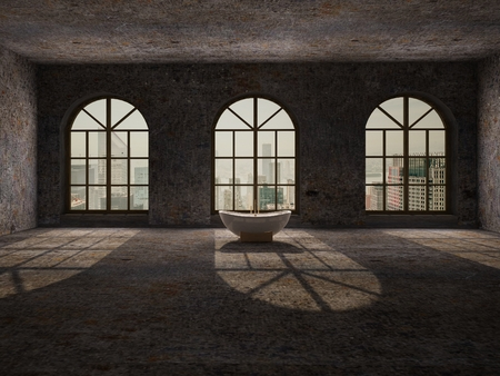 abandoned: Large, empty, abandoned room with large arc windows, stone floor and retro white bathtub
