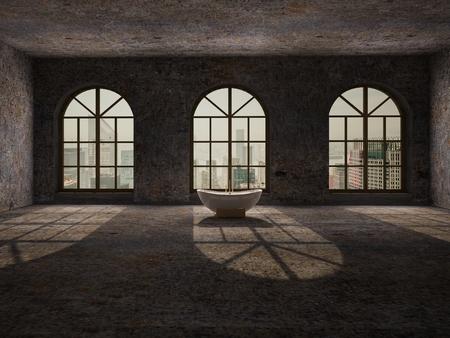abandoned room: Large, empty, abandoned room with large arc windows, stone floor and retro white bathtub