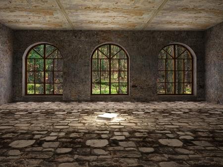 ventana abierta interior: Grande, vacío, abandonado la habitación con el libro abierto sobre el suelo de piedra Foto de archivo