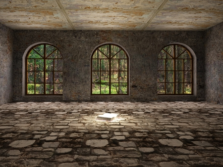 Large, empty, abandoned room with open book on stone floor
