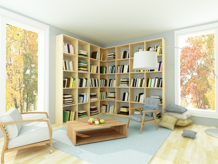 coffee table book: Rendering of interior of bright cozy room with light white walls, bookshelves, coffee table, two comfortable gray armchairs and autumn trees trough the window