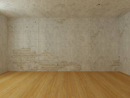 Empty room with old stucco on white brick wall and light wooden floor Stock Photo