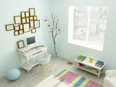 working place: Beautiful working place in blue and white colors in modern flat in Scandinavian style with large window, cozy armchair, rustic table, bright rug on wooden floor, photo frames, coffee table and home orange slippers.