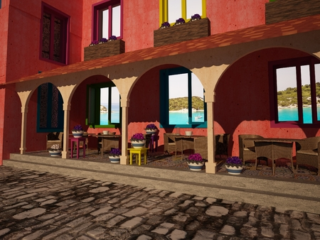 arcs: Outdoor view of street restaurant under arcs with flowers in pots