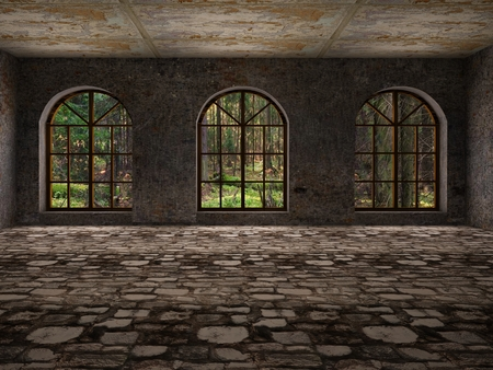 abandoned room: Large, empty, abandoned room with big windows and stone floor