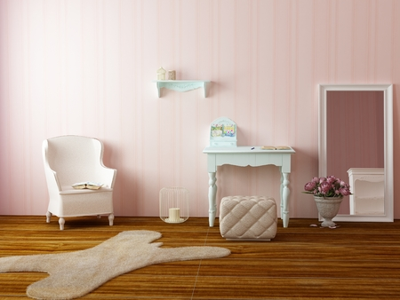 Light cozy girls room with pink wall papers with stripes, comfortable classic armchair, candles, flowers mirror and fur carpet on the wooden floor Stock Photo