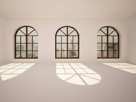 arc: Large, empty, bright room with big arc windows