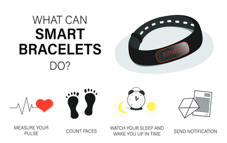 What can smart bracelets do. Vector concept fitness tracker, smart watch, sport and healthy lifestyle. 写真素材 - 121478666