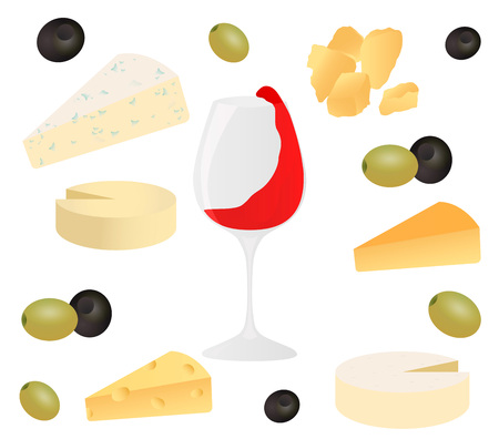 Set cheese, glass of wine and olive. Vector illustration for design menus, recipes and packages product.