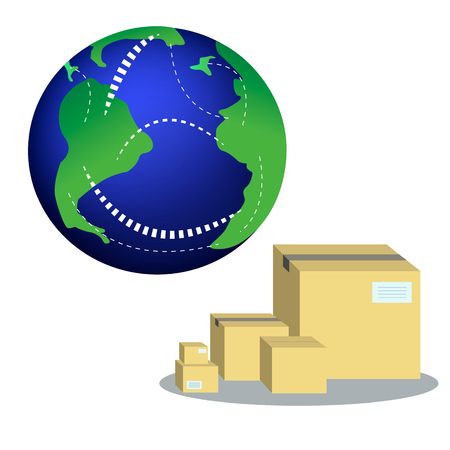 Global logistics, trade and worldwide delivery business concept. The planet and cardboard boxes.