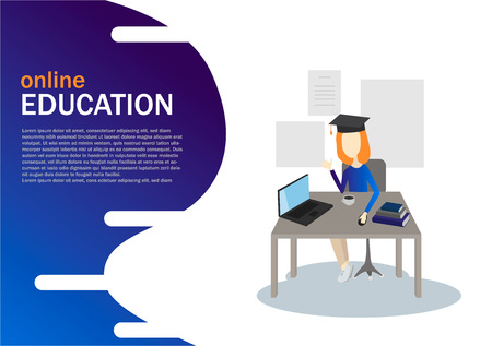 Vector flat illustration, online training courses. Education concept 3d. Learning concept.  イラスト・ベクター素材