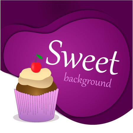 Concept of a sweet holiday. Capcake, dessert, pastries, cherry. Paper cut background.