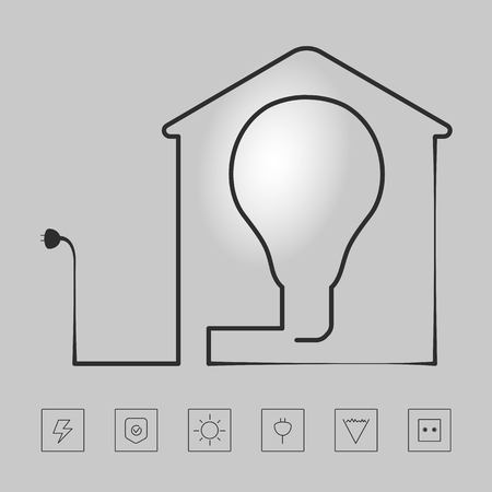 Icons installation of electrical equipment Illustration