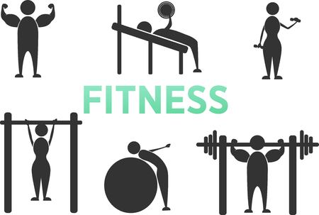 People Athletic Gym Gymnasium Body Building Exercise Healthy Training Fitness Workout Sign Symbol Pictogram