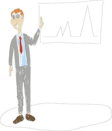 businessman presentating chart graph, presentation screen  イラスト・ベクター素材