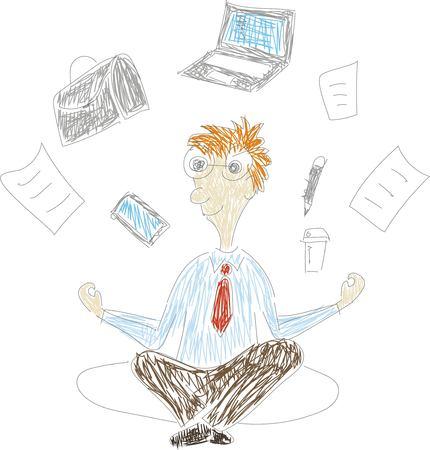 Office worker multitasking meditating, relaxing doing yoga. 일러스트