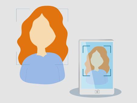 Vector cartoon illustration of woman taking selfie.