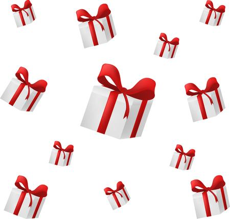 Background falling gift box with red bow