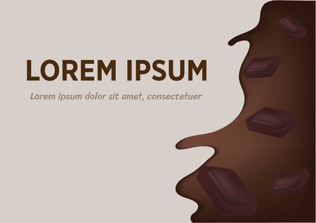 Realistic splash flowing chocolate or cocoa with chocolate pieces.  イラスト・ベクター素材