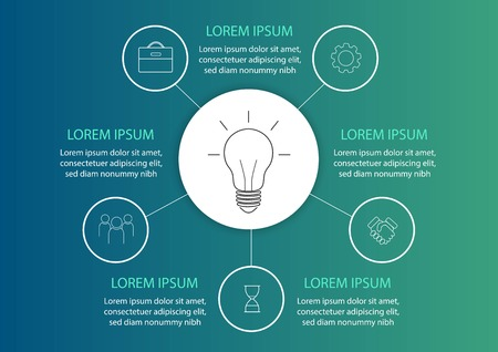 Business data visualization. Process chart. Abstract elements of graph, diagram with steps, options, parts or processes. Vector business template for presentation.