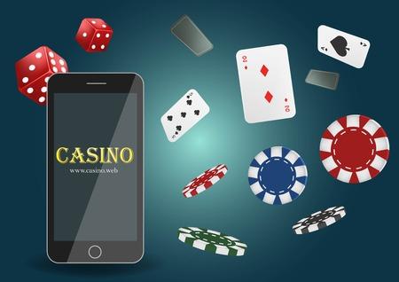 Ilustración vectorial Banner de casino de póquer en línea con un teléfono móvil, fichas, naipes y dados.