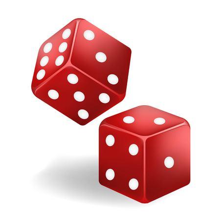 Red game dice in flight. Casino gambling. Vector Illustratie