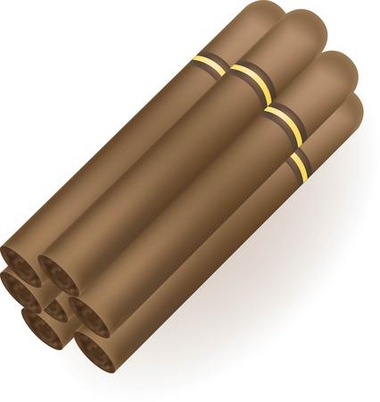 Set of Cuban cigars. Isolate on white background. eps10