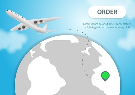 Plane and globe. Aircraft flying around Earth planet with continents and oceans.