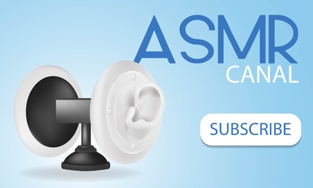 Special microphone with the white ears for ASMR isolated on gradient background. Vectores