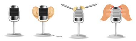 Set special microphone with the ears for ASMR isolated on white background, cosmetic brushes. Ilustración de vector