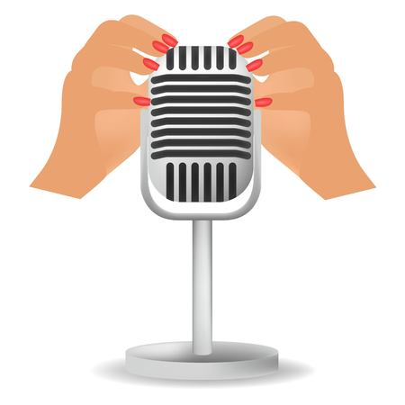 Special microphone with the white ears for ASMR isolated on white background.  イラスト・ベクター素材