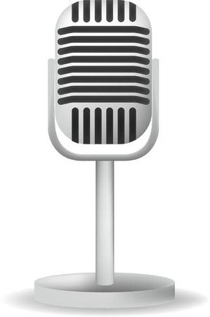 Realistic single silver microphone retro design with black switch on white gray background isolated