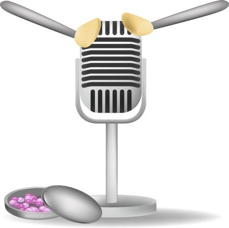 Micrófono especial con orejas blancas para ASMR aislado sobre fondo blanco.