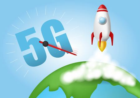Start up rocket. Smoke clouds. Wireless network speed concept, 5G evolution. Global on blue background.