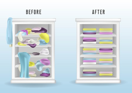 Before untidy and after tidy wardrobe. Messy clothes thrown on a shelf and nicely arranged clothes in piles and boxes. Realistic cleaning concept.