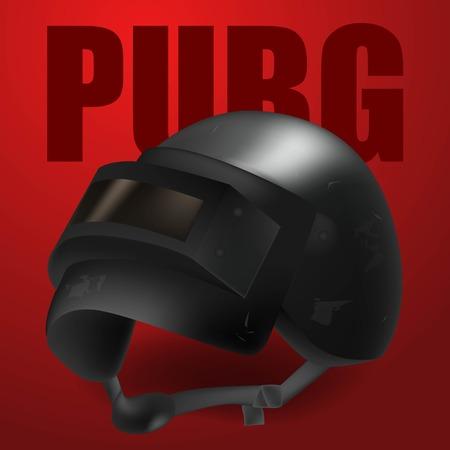 Realistic black vector helmet from Player unknown  Battleground.