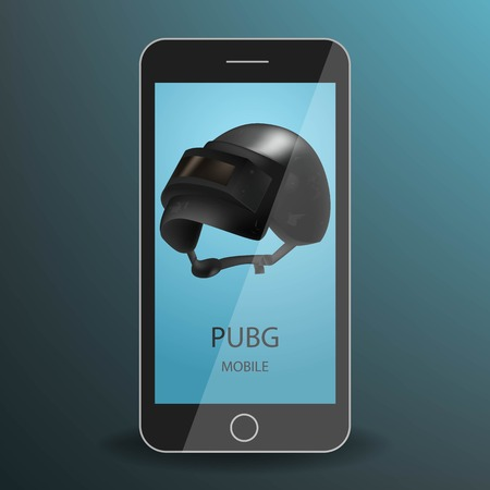 Mobile on a realistic black smartphone. On screen black metallic helmet. Battlegrounds Game concept. For streams and advertising.