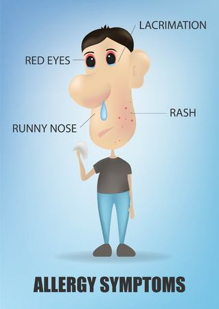 Allergy symptoms concept with cough sneeze itching skin rash runny nose and sick sore eyes.