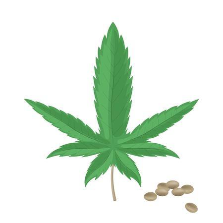 Realistic hemp seeds with leaf isolated on white background. Marijuana bunch. Cannabis pile. Vector illustration.