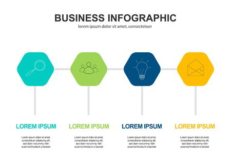 Business data visualization. Process chart. Abstract elements of graph, diagram with 4 steps, options, parts or processes. Vector business template for presentation.