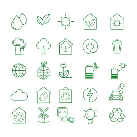 Simple Set of Eco Related Vector Line Icons.