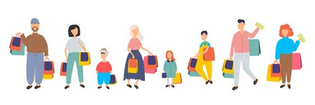 People shopping in mall vector cartoon characters set. Family with children and shopping bags. Collection of people carrying shopping bags with purchases. Men and women taking part in seasonal sale at store, shop, mall. Cartoon characters isolated on white background. Flat vector illustration.
