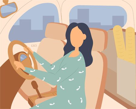 People driving car flat vector illustrations set. Road trip concept. Female shopaholic riding with purchases. Friends in vehicle finding route on map. Elegant lady in automobile.